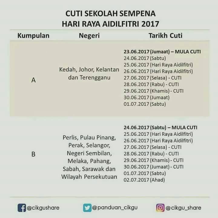 Cuti Sekolah Sempena Hari Raya Aidil Fitri 2017 Rawatan Bekam Sunnah Az Zahra Subang Bestari